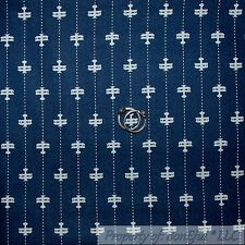 BonEful Fabric FQ Cotton Quilt Navy Blue Air*plane Military Baby Tick*ing Stripe
