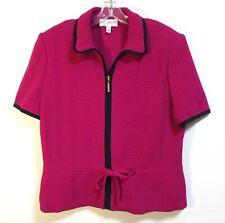 ST. JOHN COLLECTION Raspberry Pink Ribbed Knit Short Sleeve Zip Blazer Jacket 14