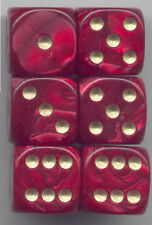 NEW Dice Set of 6 D6 (16mm) - Pearl Red