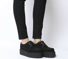 Womens Underground Wulfrun Double Creepers Black Suede Flats