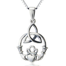 925 Sterling Silver Gothic Celtic Knot Irish Claddagh Heart Crown Cross Necklace
