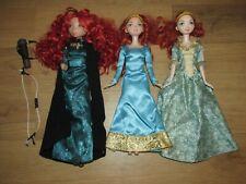 "Disney Store Rare Brave Princess Merida 11"" Doll & Bow & 2 Other Merida Doll's"