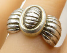 DAVID SIGAL 925 Sterling Silver - Vintage Art Deco Bow Detail Band Ring - R1996