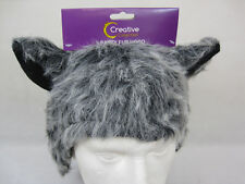 GREY  FUR ANIMAL HOOD HAT WITH EARS-CAT-WOLF-MONSTER