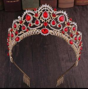 Queen Crystal Crown Headband Rhinestone Wedding Princess Tiara For Bridal Party