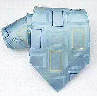 Men's Blue necktie silk wide Morgana brand Italy geometric  business wedding