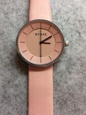 Ladies Pink Fashion Wrist Watch Quartz Analogue Steel & Leather Strap New UK