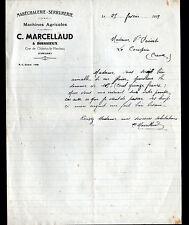 """BOISSIEUX / CHATELUS-le-MARCHEIX (23) SERRURERIE MARECHALERIE """"MARCELLAUD"""" 1939"""