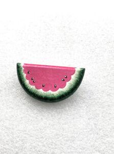 Vintage Handmade Watermelon Brooch Pin Polymer Glitter D16