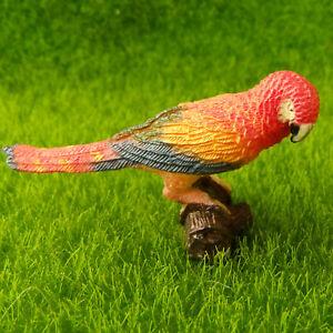 Red Macaw Colourful Parrot Lifelike Bird Fairy Garden Terrarium Figurine Toy