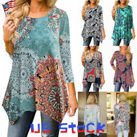 Womens Tops Casual Boho T-Shirts Ladies Floral Printed Blouse Asymmetric Hem US