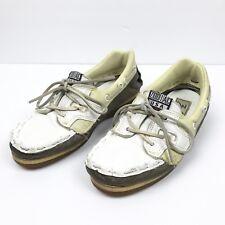 Zodiac Men White Leather Slip On Loafer Mocassin USA Vintage Boat Shoe Size 6 M