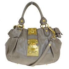 Authentic MIU MIU Logos 2Way Tote Shoulder Hand Bag Leather Beige Italy 05BJ128