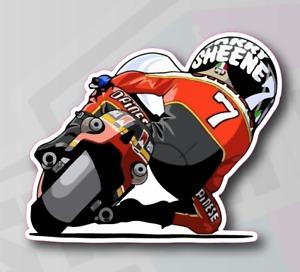 Barry Sheene #7 Cartoon Racer Motorcycle Sticker Decal - 100mm