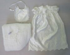 3de0eadd1 Vintage Madonna Little Girls Christening Gown Knitted Shawl Cradle Set 3  Outfit