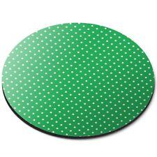 Round Mouse Mat  - Green White Polka Dot Pattern Print  #45238