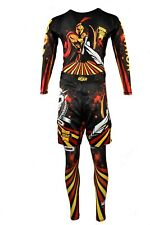 Bjj Mma Roar Black Yellow Red Warrior Men's 3 Piece Long Sleeve Rashguard Set L