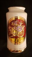 "The Art of Chokin White Porcelain Vase 6.25"" Cart w Flowers Gold & Silver Gild"