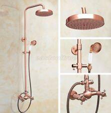 "Antique Red Copper Bathroom 8"" Rainfall Shower Head Shower Faucet Set Erg525"
