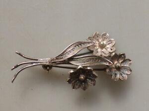 alte filigrane 800/900er ? Silberbrosche in Form eines Blumenstraußes