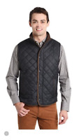 $175 PETER MILLAR Essex Quilted Vest Men Black Golf Zip Top MF17Z13 M L XL 2XL