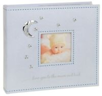 """Love You To The Moon - Baby Boy Photo Album (Blue) 4x6"""""""