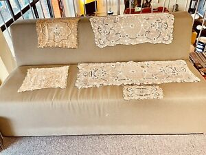ANTIQUE 5 Pc SET TAMBOUR LACE BOUDOIR 2 PILLOW COVERS 2 RUNNERS 1 DOILY FRENCH