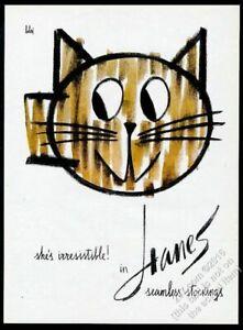 1960 Vladimir Bobri cat art Hanes Seamless Stockings vintage print ad