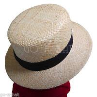 VINTAGE Summer Straw Boater Top Hat Men Women Soft Sailor Skimmer Unisex | 58cm