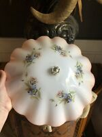 Vintage Deco Ceiling LIght Fixture Fluted Frosted Peach Pansy Flowers Shade