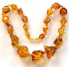 """Genuine Baltic Amber Necklace Honey Color Polished Nuggets Beads 93gr. 25 1/2"""""""