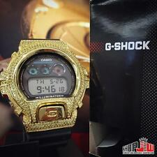 Iced Out Simulated Diamonds G Shock Watch Micro Pave Bezel Mens Hip Hop Yellow
