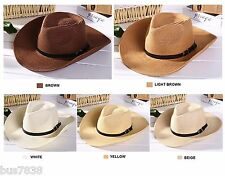 Men summer beach COWBOY STRAW hat shapeable Panama Sun Western cap Raffia Rodeo