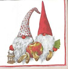 3 x Single SMALL Paper Napkins For Decoupage Craft Christmas Tomte Gnome S116