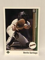 1989 Upper Deck Benito Santiago Baseball Card San Diego Padres MLB #165 Catcher