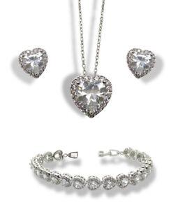 White gold finish heart created diamond necklace Earrings Bracelet Gift Boxed