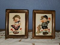 "2 Vintage Hummel Plaques Kids W/ Dogs Signed Norton AH713A1 AH713B2 4""×5"""