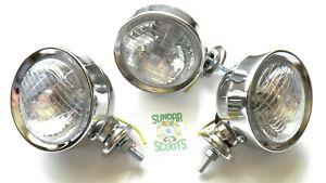 """SPECIAL OFFER. 3 LAMBRETTA / VESPA 4"""" /10cm SPOT LIGHT CHROMED CASE CLEAR LENS"""