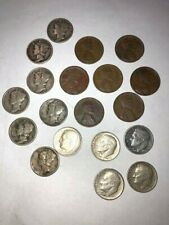 SMALL COIN COLLECTION 19 PCS, DIMES, PENNIES