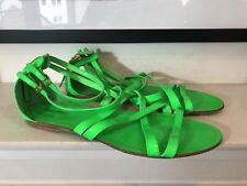 Miu Miu Neon Green Flat Sandals