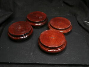 4  x round wooden  bases 50mm surface diameter 20mm tall