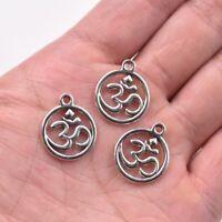 30X 10X Tibetan Silver Ohm Aum Om Symbol Yoga Charm Pendant For DIY Jewelry