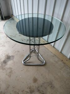 VINTAGE RETRO RARE MID CENTURY RARE TUBULAR CHROME PYLON DINING KITCHEN TABLE