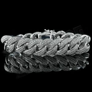 18K White Gold Bling Out Iced 2-Row Lab Diamond CUBAN Miami Link Bracelet 15mm