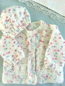 * 6 - 12 mnths * 2 Piece Baby Jacket Set * Cream * Aust Hand Knitted *