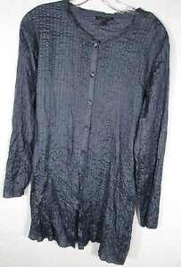 EILEEN FISHER Size S Slate Blue Pucker Silk Long Sleeve Tunic Blouse