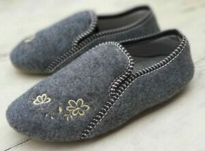 🌷 Ladies Womens Real Felt Slippers Handmade Grey Embroidered UK size 3.5-8