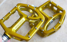 BICYCLE WELLGO MG1 MG-1 MAGNESIUM PEDALS PAIR GOLD 376g MTB BMX DH PLATFORM