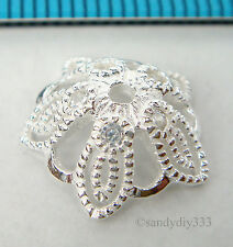 2x BRIGHT STERLING SILVER CZ CRYSTAL FILIGREE FLOWER BEAD CAP 13.3mm #1876
