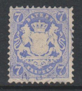 Germany (Bavaria) - 1870/73, 7Kr Pale Blue -Wmk Narrow Mesh 14mm - F/U - SG 56B